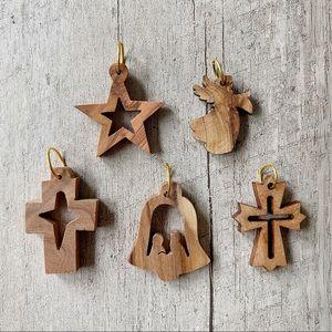 Other - 5 Israel Mini Olive Wood Christmas Ornaments
